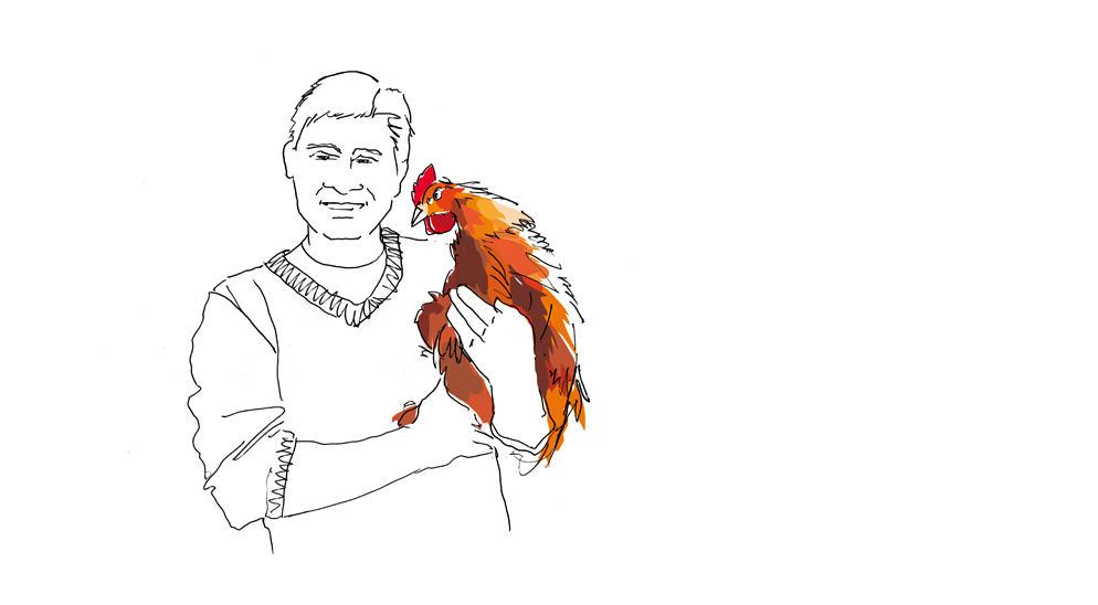 illustration éleveur de volailles fermières Groupe Agrial