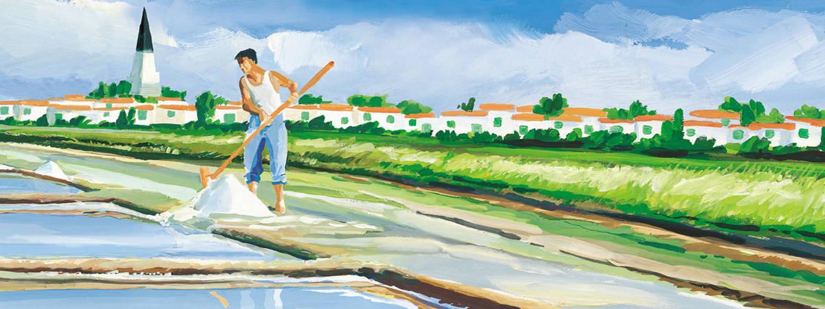 photo sauniers Ile de Ré panoramique. Paludier récoltant la fleur de sel à L'Ile de Ré