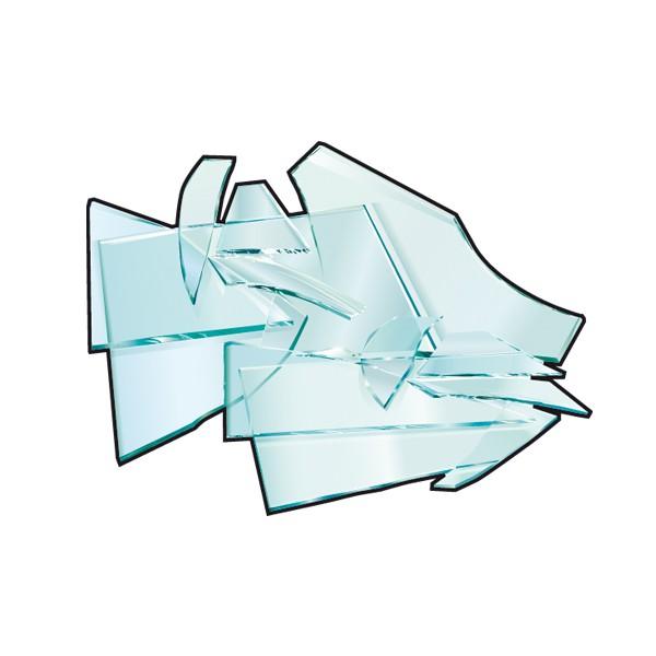 illustration vitre cassée Rennes Métropole. Tri des déchets.