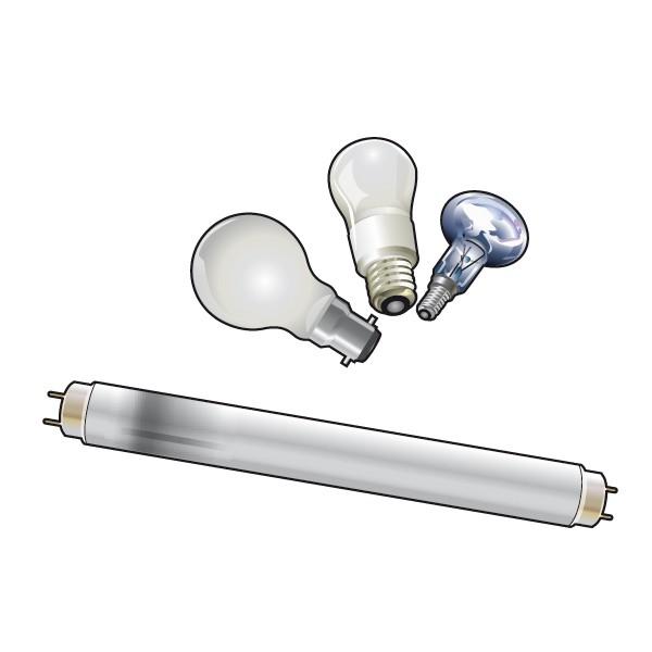 illustration ampoule, néons Rennes Métropole. Tri des déchets.