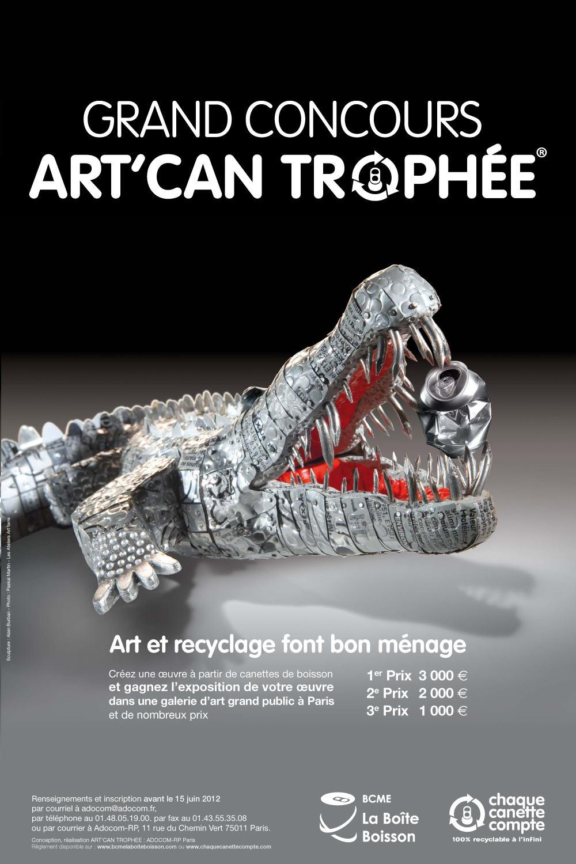 affiche art can trophée réalisée par Art terre. Alain Burban sculpteur. Concours design pour jeunes artiste.
