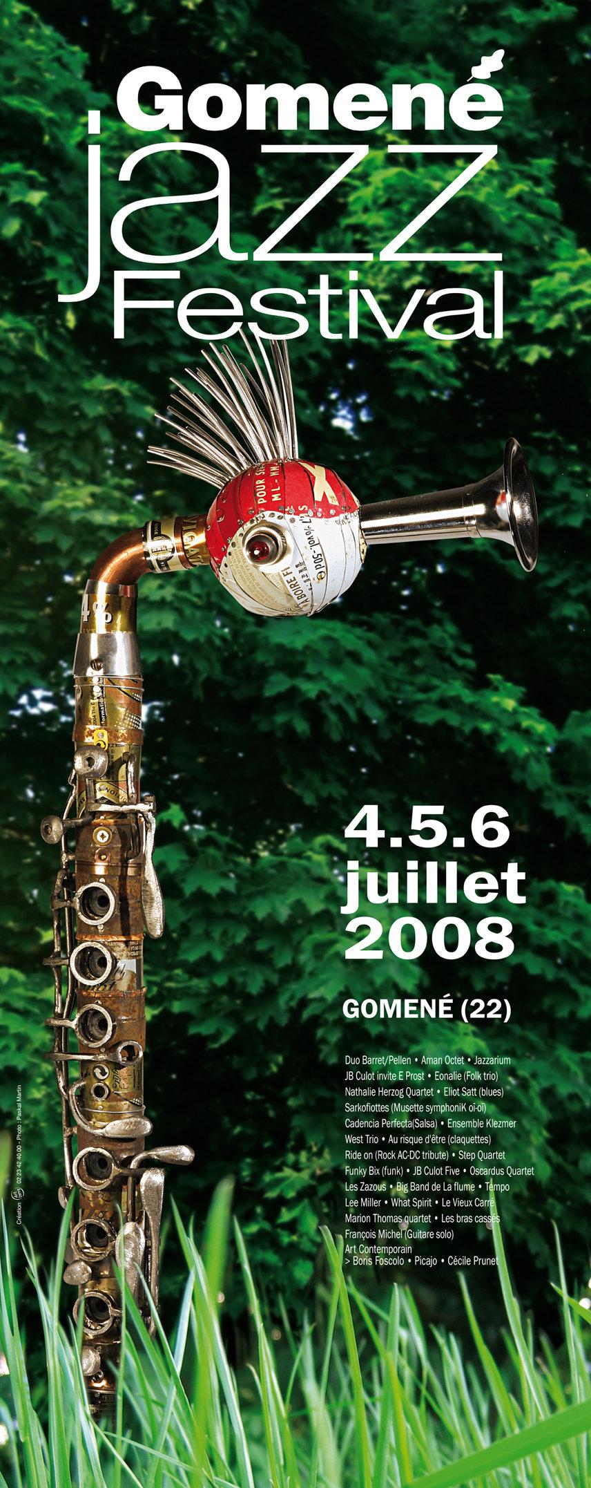 affiche Festival Gomené Jazz. création art terre. Sculpteur Alain Burban. Photographe Paskal Martin